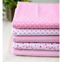Белая ткань хлопок в розовый горох.