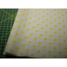 Хлопковая ткань желтый горох на белом.