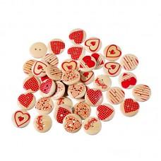 Деревянные пуговицы с принтом сердца