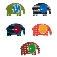 Деревянные пуговки разноцветные слоники.
