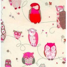 """Хлопковая ткань """"Совушка"""" в розовом."""