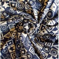 """Поперечно полосатая ткань""""Синяя в квадрат""""."""