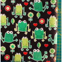 Влюбленные лягушки ткань на черном фоне