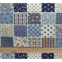 """Ткань для пэчворка купить """"Синие квадраты""""."""