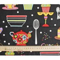 """Детские ткани """"Вкусные тортики""""."""