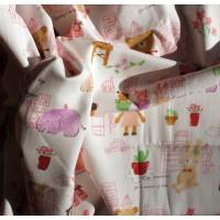 """Ткань для постельного белья купить""""Милые животные"""" розовая."""