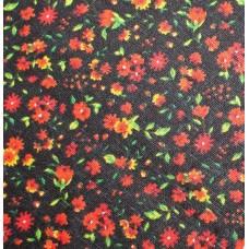 Льняная ткань в мелкий цветочек.