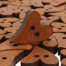 Пуговица деревянная сердце 18 мм окрашенная.