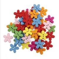 Деревянные пуговки - цветочки разноцветные.
