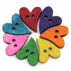 Пуговицы сердце изогнутое разноцветное.