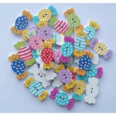 Пуговицы деревянные с цветочным принтом конфети.