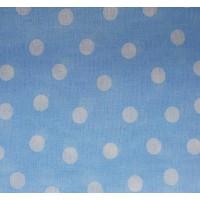 Ткань хлопок белый горох на голубом.